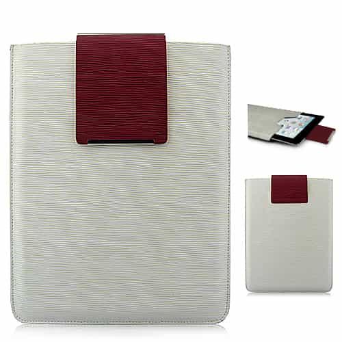 Simpelt design super slim læder taske - Hvid-0
