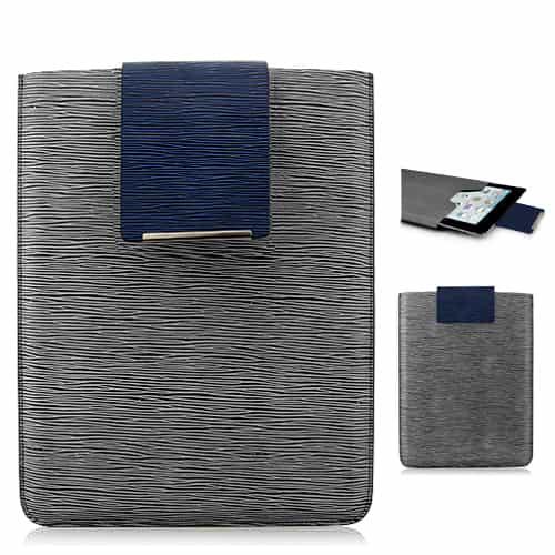 Simpelt design super slim læder taske - Grå-0