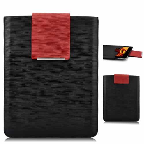 Simpelt design super slim læder taske - Sort-0