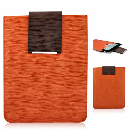 Simpelt design super slim læder taske - Orange-0
