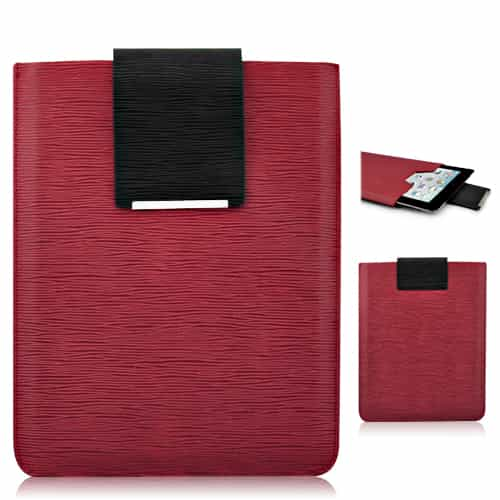 Simpelt design super slim læder taske - Rød-0