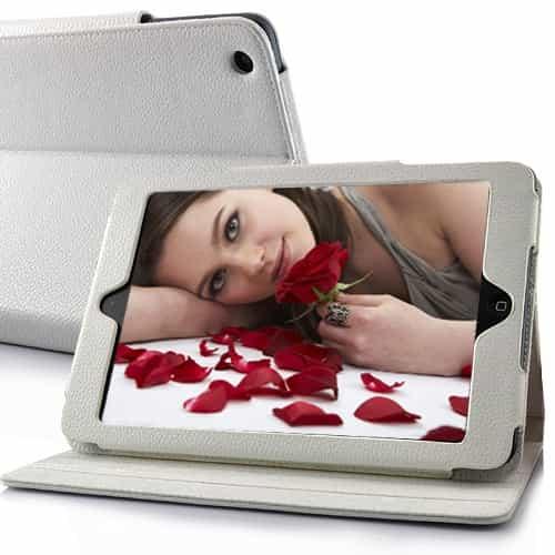 iPad Mini 1/2/3 - Litchi præget læder etui med stand - Hvid-0