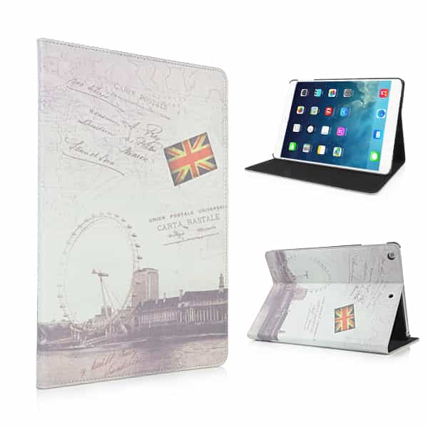 iPad Air (iPad 5) (A1474, A1475, A1476) - Retro Fashion London Eye Læder Flip Stand Cover-0
