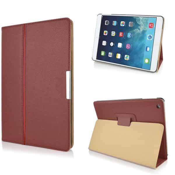 iPad Air (iPad 5) (A1474, A1475, A1476) - Litchi Foldet PU Læder Etui - Brun-0
