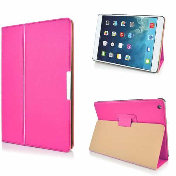 iPad Air (iPad 5) (A1474, A1475, A1476) - Litchi Foldet PU Læder Etui - Magenta-0