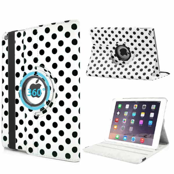 iPad Air 2 - PU Læder Smart Cover med Runde Prikker - Hvid-0
