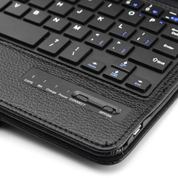 New Detachable Wireless Bluetooth Keyboard Case Lichi Pattern Leather Smart Cover With Stand For Ipad Mini 4 - Black7