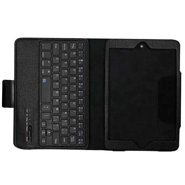 New Detachable Wireless Bluetooth Keyboard Case Lichi Pattern Leather Smart Cover With Stand For Ipad Mini 4 - Black8