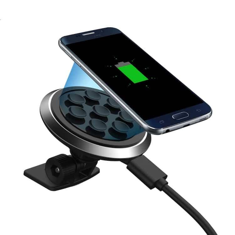 Billede af 2-i-1 Sugekop Bil Oplader Holder + Qi Trådløs Oplader til Samsung LG Nokia - Sort