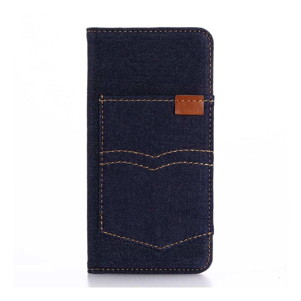 Billede af iPhone 8 - Kunstlæder Etui med Kreditkort holder og Tøj Textil - Mørkeblå