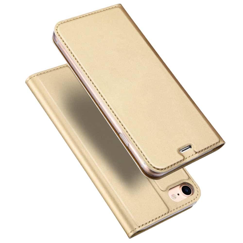 Billede af iPhone 8 - Kunstlæder Flip Etui med Kreditkort holder - Guldfarve