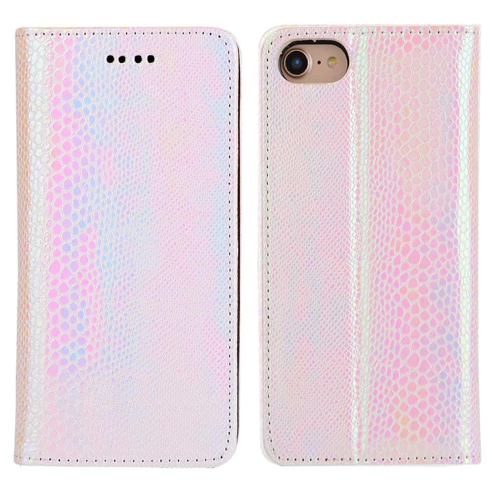 Billede af iPhone 8 - Kunstlæder Etui med Kreditkort holder og Slange Textil - Lyserød