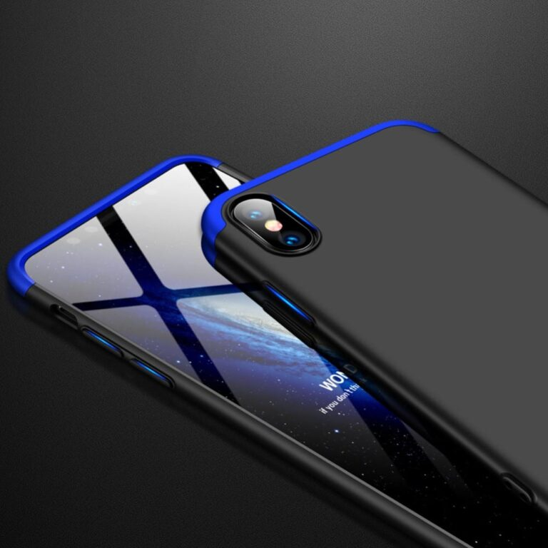 Iphone-x-360-beskyttelsescover-sortblaa-mobil-cover